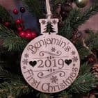Babys First 1st Christmas Personalised Wooden Bauble Decoration Gift